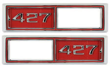Trim Parts Red Front Marker Light Bezel 427 Emblem PAIR / FOR LISTED CHEVY 4524A