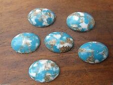 6 VINTAGE POLISHED TURQUOISE w/ GOLD MATRIX GLASS CABOCHON CABS FINDINGS LAST