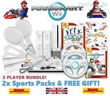 Wii Console MARIO KART 2 Player Bundle, 2 Remotes 2 Sports Packs 19 GAMES + GIFT