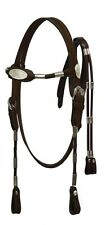 Showman COBB Size DARK BROWN Leather Poco Headstall w/ Reins!! NEW HORSE TACK!!!
