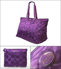 Coach XL Overnight Packable Weekend Nylon Tote Travel Duffle Bag 77316 Amethyst