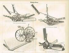 Tafel MÄHMASCHINEN 1888 Original-Holzstich
