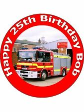 "7.5"" FIREMAN / FIRE ENGINE BIRTHDAY CAKE TOPPERS PERSONALISED ON RICE PAPER"