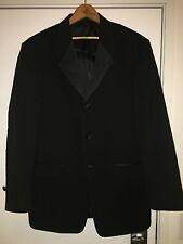 Reaction Kenneth Cole Mens Tux Tuxedo Suit Top 38R Black 100% Wool 3 Button