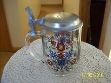 Glass Vintage Marked France Floral Spray Beer Stein Engraved Gary On Pewter Lid