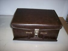 DARK  BROWN TWO-SIDED FAUX LEATHER CASE FOR CASSETTE TAPES  HOLDS 60 TAPES    #8
