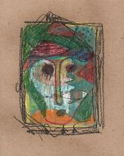 ABSTRACT FACE & FISH IN THE STYLE OF PICASSO Drawing 2013 INDISTINCT SIGNATURE