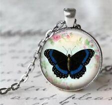 Schmetterling Kette Anhänger Mit Glas Cabochon - Halskette Mit Anhänger
