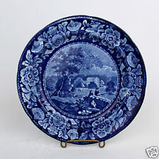19C Davenport Staffordshire Blue Transfer Plate - Pastoral House Farmers Cows PT