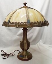 Old Antique CARAMEL SLAG BENT GLASS 8 Panel Electric TABLE LAMP -WORKS-
