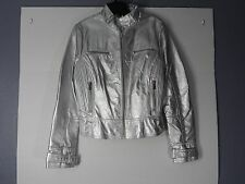 Vintage New Women's Bebe Sport Silver/Metallic Leather Jacket,Large