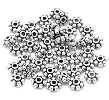 100 perles intercalaire en métal - Diamètre 4 mm - Couleur argenté