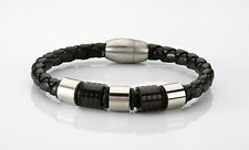 Polished Silver and Black Stainless Steel Braided Black Leather Bangle Bracelet