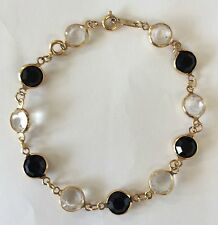So Pretty!!! SWAN SWAROVSKI Goldtone Black Opaque & Clear Crystal Chain Bracelet