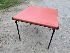 VINTAGE METAL AND VINYL Wood Frame SAMSONITE FOLDING CARD TABLE - Great Shape!