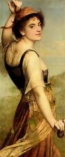Oil painting edward charles halle - the dancing girl young female in landscape @