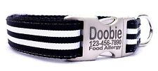 Personalized Engraved Buckle Black/ White Stripped Nylon Dog Collar One Inch