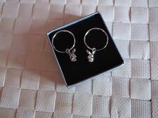 BRAND NEW SMALL SILVER PLATED GENUINE PLAYBOY HOOP EARRINGS WITH BUNNY HEAD