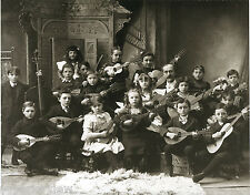 Vintage 1880 Children String Band Mandolin Guitar Bass Guitar Kids Instruments