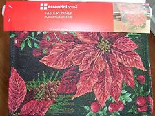 Poinsettia's Pinecones Tapestry Christmas Table Runner 13x54 inches New