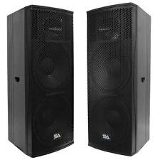 """Pair of Premium Active Dual 15"""" 2-Way Bi-Amp Loudspeaker Cabinets - 1000 Watts"""