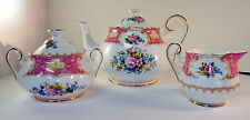 ROYAL ALBERT CHINA TEA POT WITH SUGAR AN CREAMER  LADY CARLYLE