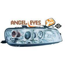 Coppia fari fanali anteriori TUNING PUNTO 1999-03 cromati con anelli angel eyes