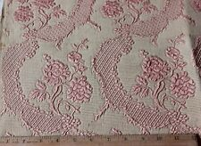 French Antique Pink Silk Roses &Lace Woven Matelasse Fabric Textile Sample c1870