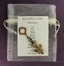 BUTTERFLY TOTEM CHARM Amulet Talisman Symbol Blue Green Insect Psyche Gold