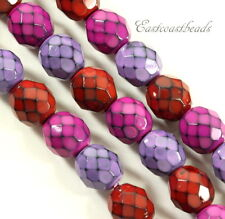 8mm, Round Snake Glass Beads, Berry Mix, Fire Polished Finish, 22 Pieces