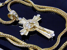 Gold Hip Hop Iced Out Cross Jesus Crucifix Crystals New Franco Chain Necklace