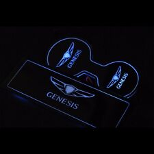 LED Blue Cup Holder Console Plate Set For Hyundai New Genesis Sedan 2015+