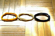 3 Mt GUITAR ELECTRIC YELLOW & WHITE & BLACK 22 AWG VINTAGE CLOTH COVERED WIRE