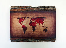 WOODEN WORLD MAP - Wood Wall Art - Decorative Wood Sign - Rustic World Map
