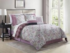 10 Piece Shabby Plum/Taupe Reversible Bed in a Bag Set Queen