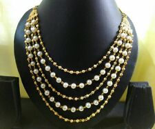 Panassh fashion gold plated South Indian 5 line ball chain necklace