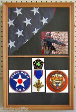 Military Memorial Shadow Box  Display Case for 3'X5' flag folded, Wood,  FC09-OA