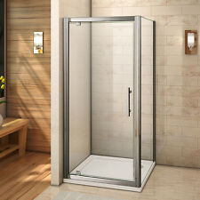700x900 Shower Enclosure 6mm Glass Pivot Door+Side Panel+ Stone Tray FREE Waste