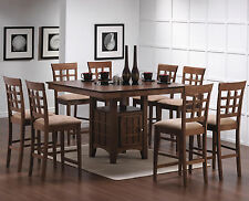 7PC Walnut Finish Lazy Susan Counter Height Table Set/Storage Pedestal Base