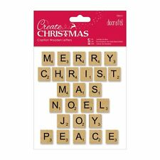 Letter Wooden Tiles Papermania 26 x Christmas Scrabble style Caption Natural