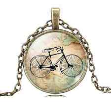 bicycle Cabochon Glass Chain bronze Pendant Necklace Painting Gift ,