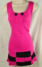 PUSSYCAT LONDON SMALL PINK SLEEVELESS JUMPER DRESS BUTTONS CHIC GLAM BLACK TRIMS