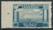 1946 CORPO POLACCO USATO 55 G VARIETà NON DENTELLATO A SINISTRA - U23-4