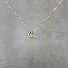 Double Rings Silver Plated Necklace Gift Circle Circular Round Collar Jewelry