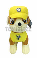"PAW PATROL PLUSH! RUBBLE YELLOW LARGE SOFT DOLL PUPPY BULLDOG DOG K9 16"" NWT"