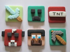 6 MINECRAFT 2D EDIBLE CAKE DECORATIONS,CUPCAKE TOPPERS, XBOX,COMPUTER GAME
