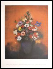 Odilon Redon Anemonen und Flieder in blauer Vase Poster Kunstdruck im Alu Rahmen