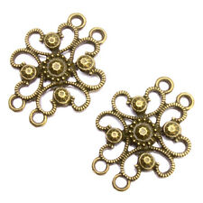 75pcs Vintage Bronze Alloy Flowers 4 Holes Connector Charms Findings Pendants J