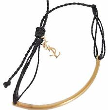 New Saint Laurent YSL 362437 Golden Armure Adjustable YSL Charm String Bracelet