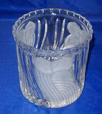 BEAUTIFUL HEAVY LEADED CRYSTAL BOWL ~ ETCHED & FROSTED FLORAL DESIGN